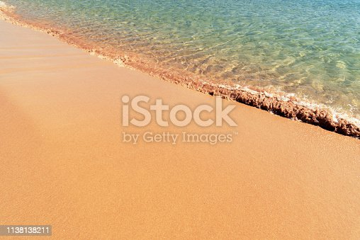 istock Soft sea wave on the sand beach - Summer background 1138138211