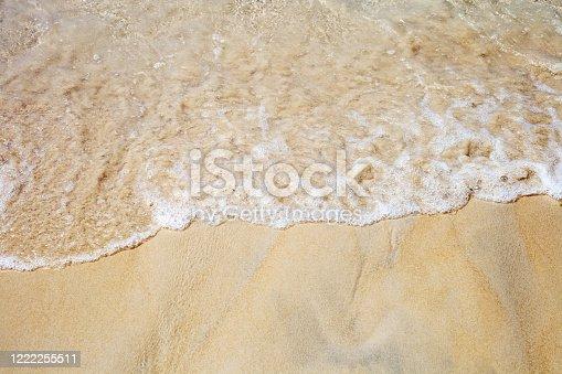 999001484 istock photo Soft sea waves on sunny sandy beach top view 1222255511