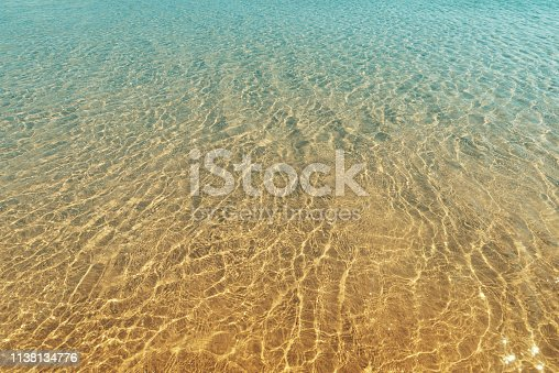istock Soft sea waves on the sand beach - Summer background 1138134776