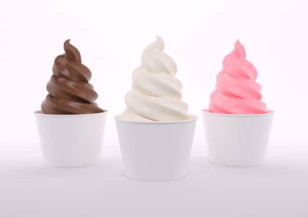 軟服務霜淇淋錐三重奏 - 冷凍乳酪 個照片及圖片檔