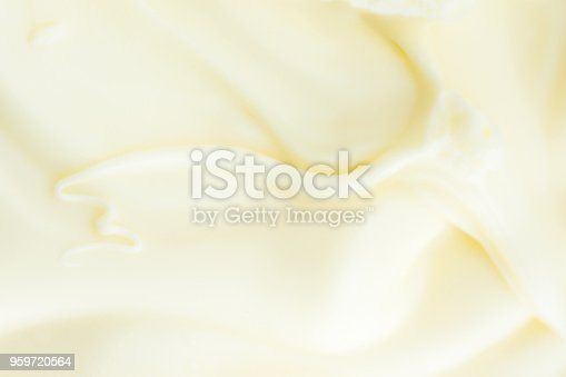 Soft Silky Creamy Butter Texture with Beautiful Swirls. Pastel Light Yellow Color. Food Poster Background. Calories Fats Dairy Organic Produce