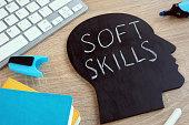 Soft skills written on a blackboard with the shape of a head.