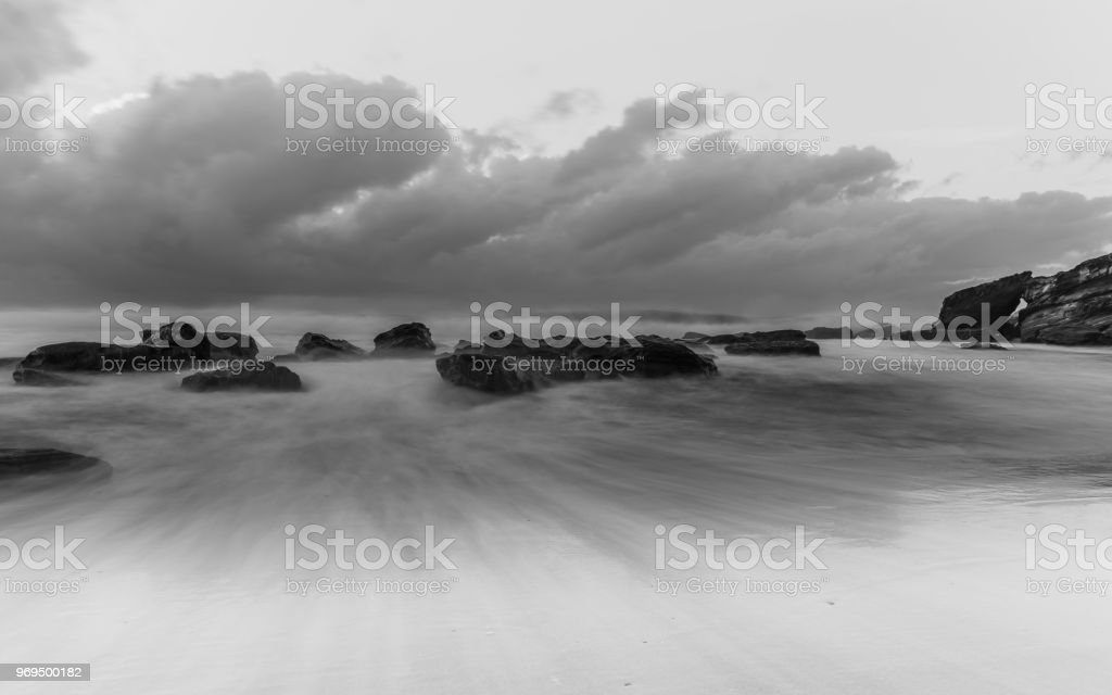 Soft, Slow and Rocky Seascape stock photo