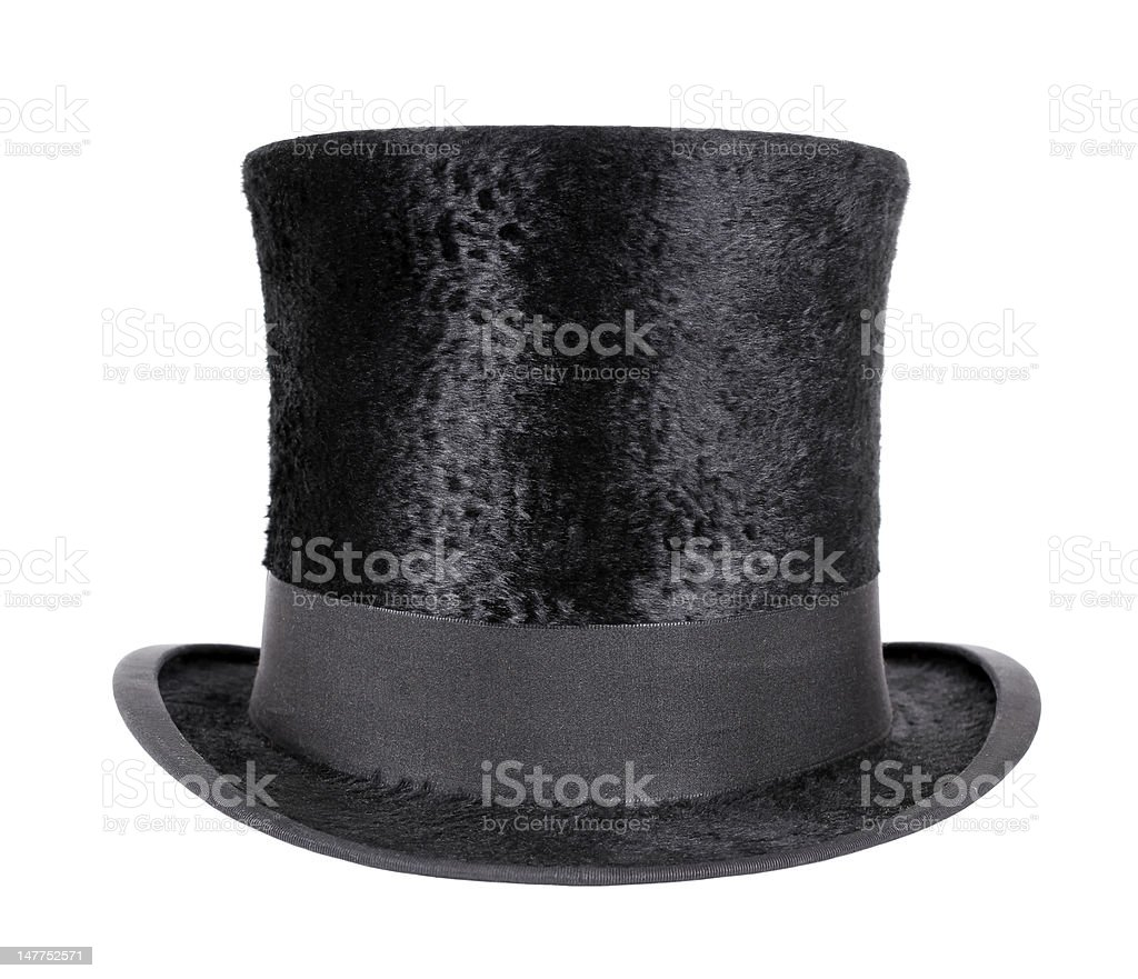 Soft textured black top hat with smooth black trimming stock photo