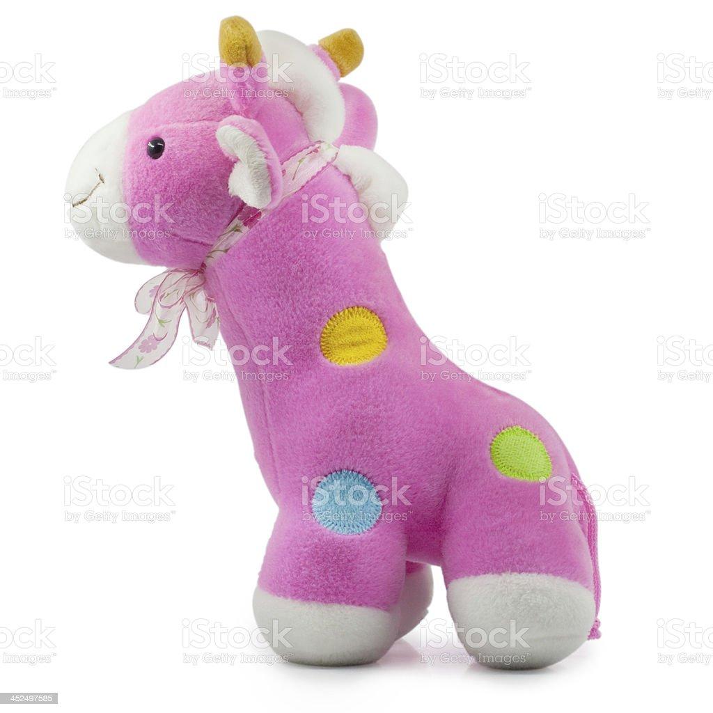 Soft Toy Baby giraffe on White Background royalty-free stock photo