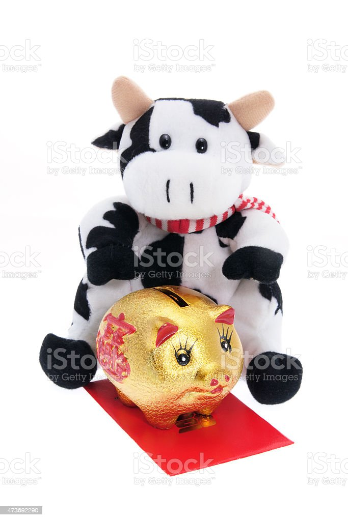 Soft Toy Cow and Golden Piggy Bank stock photo