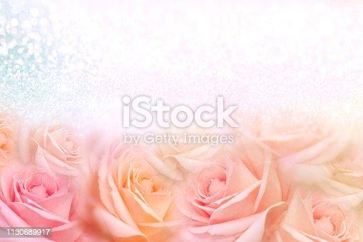 652288118istockphoto soft vintage roses flower frame with glitter background for valentine 1130689917