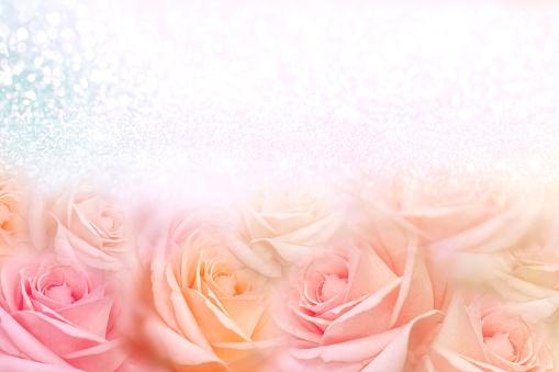 652288118 istock photo soft vintage roses flower frame with glitter background for valentine 1130689917