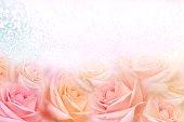 istock soft vintage roses flower frame with glitter background for valentine 1130689917