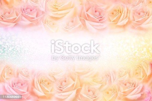 652288118istockphoto soft vintage roses flower frame with glitter background 1130689931
