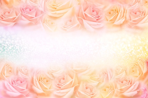 652288118 istock photo soft vintage roses flower frame with glitter background 1130689931