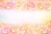 istock soft vintage roses flower frame with glitter background 1130689931