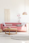 Soft, warm living room interior with a cozy, velvet sofa, millennial pink decorations and a beige macrame on a white wall