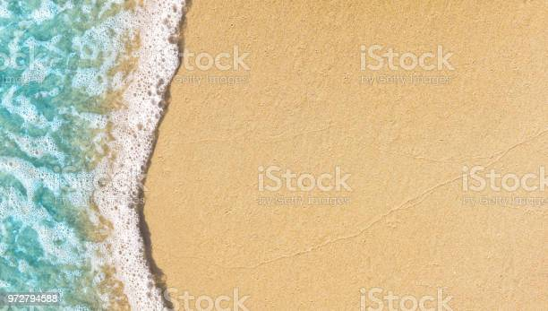 Photo of Soft wave lapped on empty sandy beach, Summer Background.