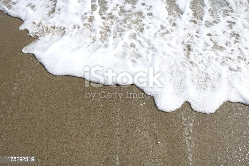 istock Soft wave lapped the sandy beach, Summer Background 1175292319