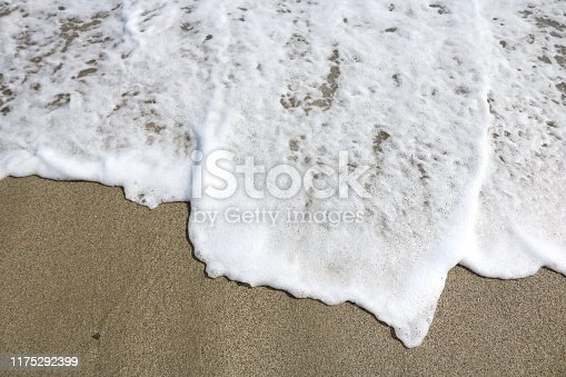 istock Soft wave lapped the sandy beach, Summer Background 1175292399