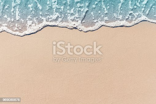 istock Soft wave lapped the sandy beach, Summer Background. 969085876