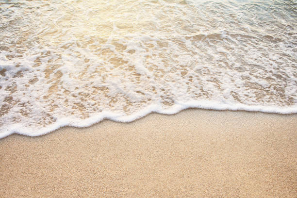 Soft wave of sea on the sandy beach stock photo