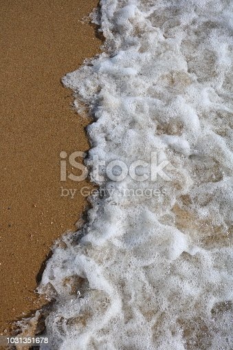 istock Soft wave of turquoise sea water on the sandy beach. 1031351678