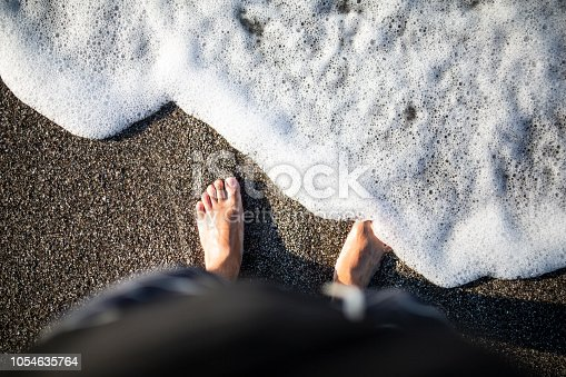 istock Soft wave of turquoise sea water on the sandy beach 1054635764