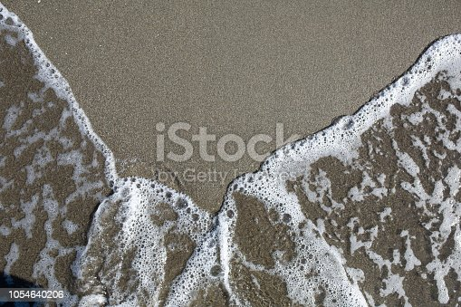istock Soft wave of turquoise sea water on the sandy beach 1054640206