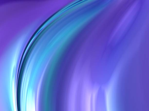 Soft wavy pastel abstract background fractal art in purple, blue, aqua and teal stock photo