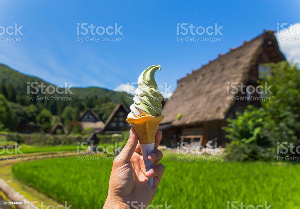 Soft white milk cream ice cream   in spring day on stock photo