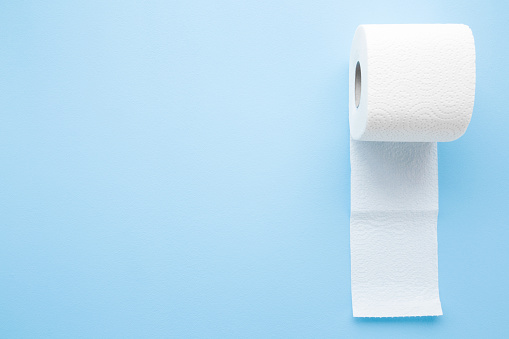 istock Soft, white toilet paper roll on light pastel blue background. Hygiene concept. Empty place for text, object or logo. 1143216855
