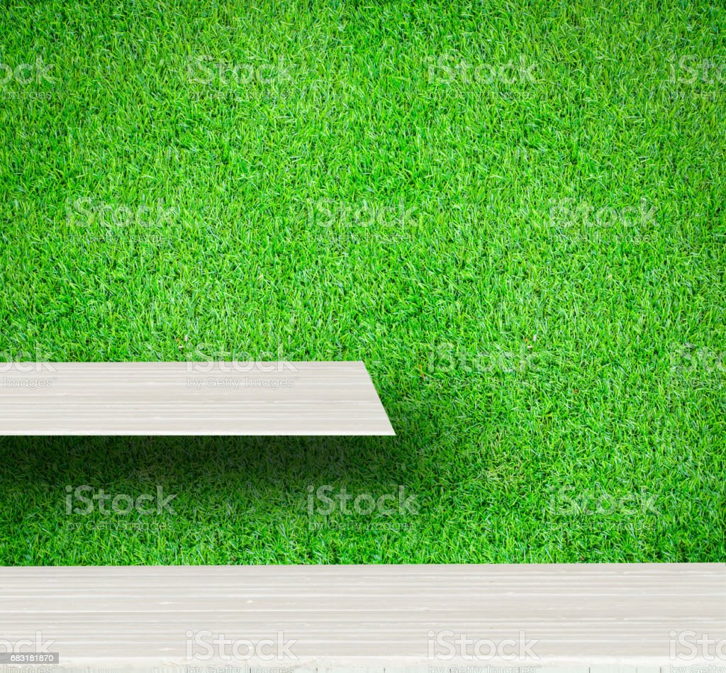 Soft white wooden shelves with fresh green small plants background 免版稅 stock photo