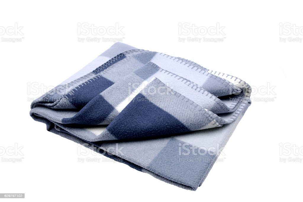 Soft woolen blanket against a white background stock photo