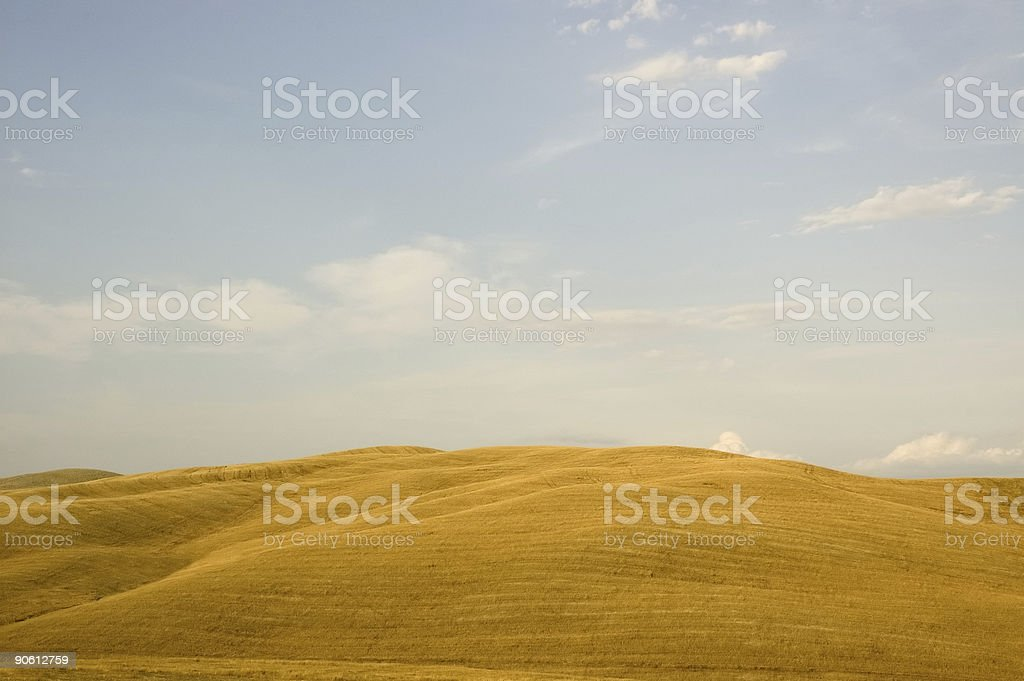 Soft yellow hills stock photo