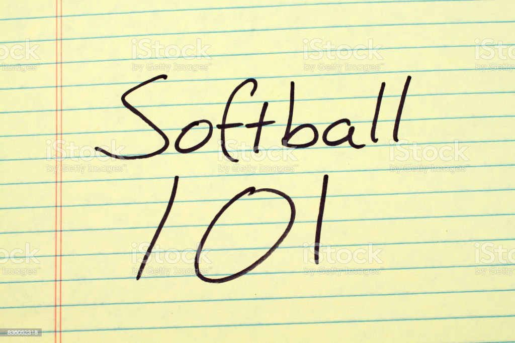 Softball 101 On A Yellow Legal Pad stock photo