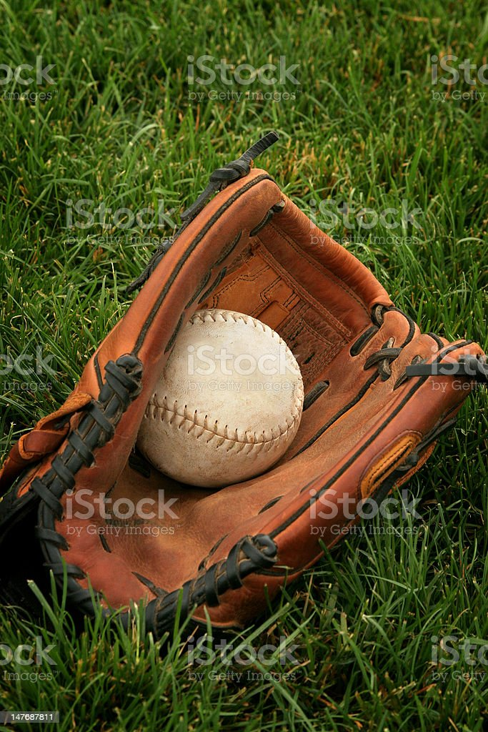 softball and glove in grass stock photo