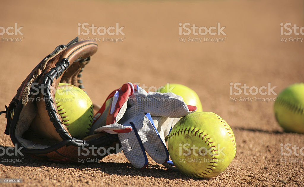 Softball Baseball balls and batters glove stock photo