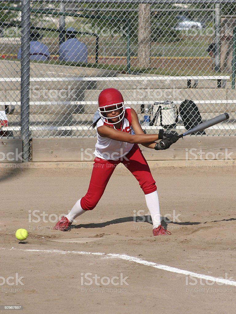 Softball Batter Gets A Strike stock photo