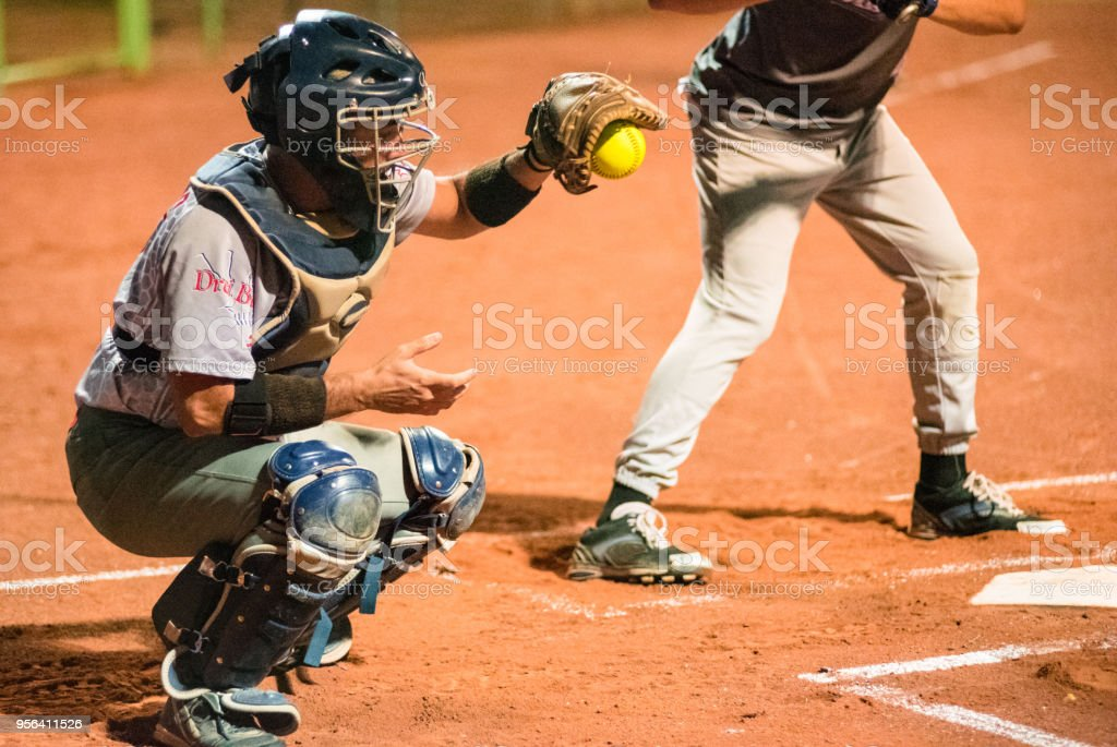 Softball Catcher Catching the Ball stock photo