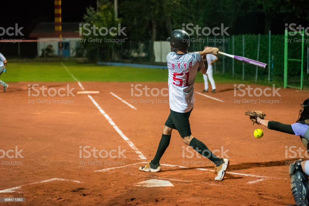 Softball Catcher Catching the Ball.