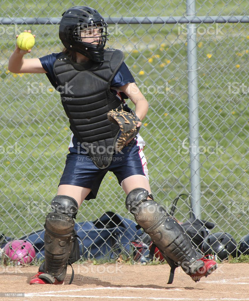 Softball catcher stock photo