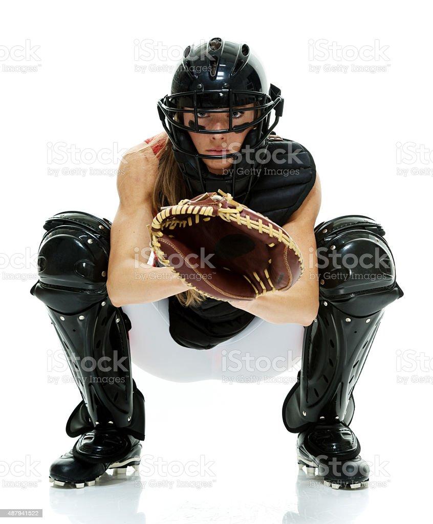 Softball catcher posing stock photo