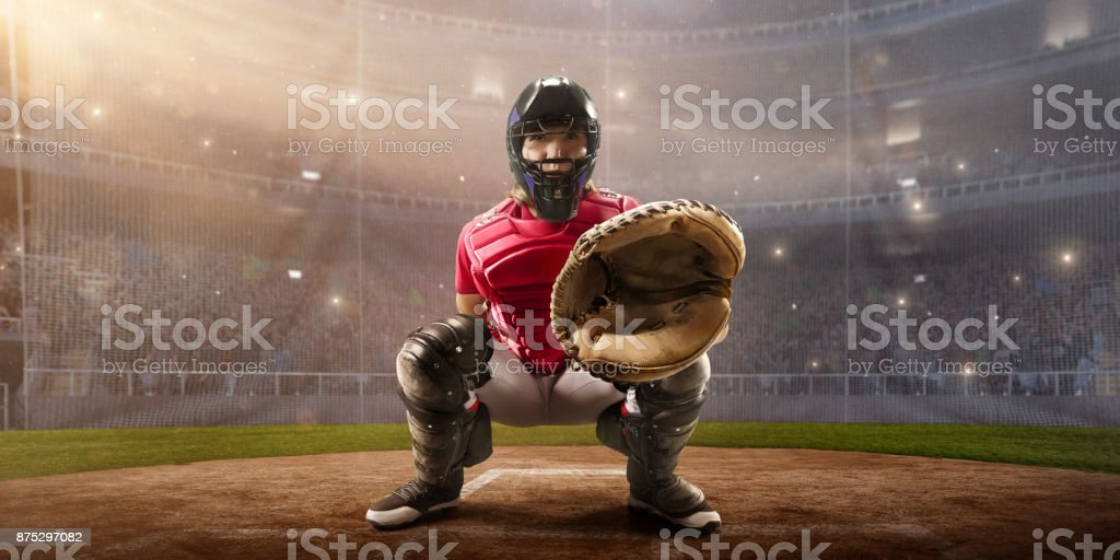 Softball female catcher on a professional arena. Beautiful player in...