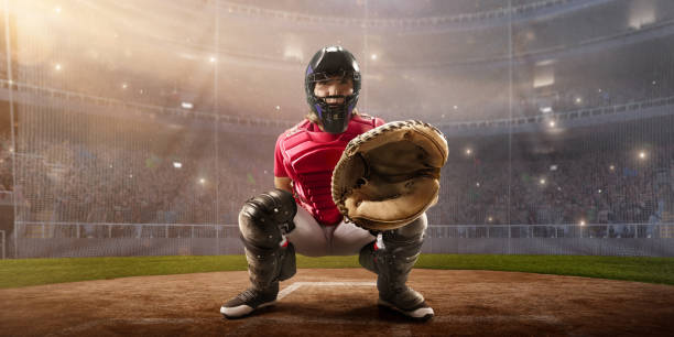 Softball female catcher on a professional arena stock photo