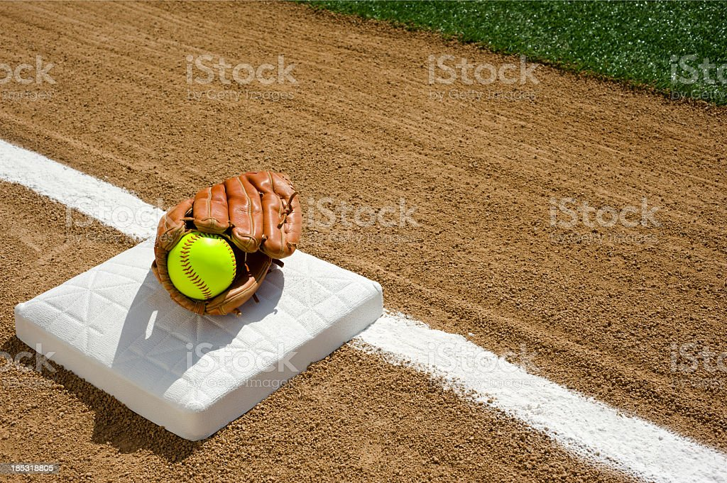 Softball - First base stock photo