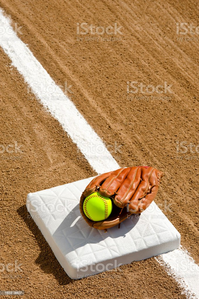 Softball - First base royalty-free stock photo