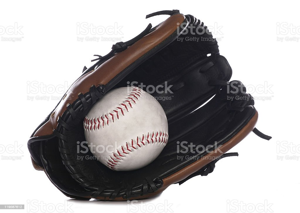 Softball glove and ball stock photo