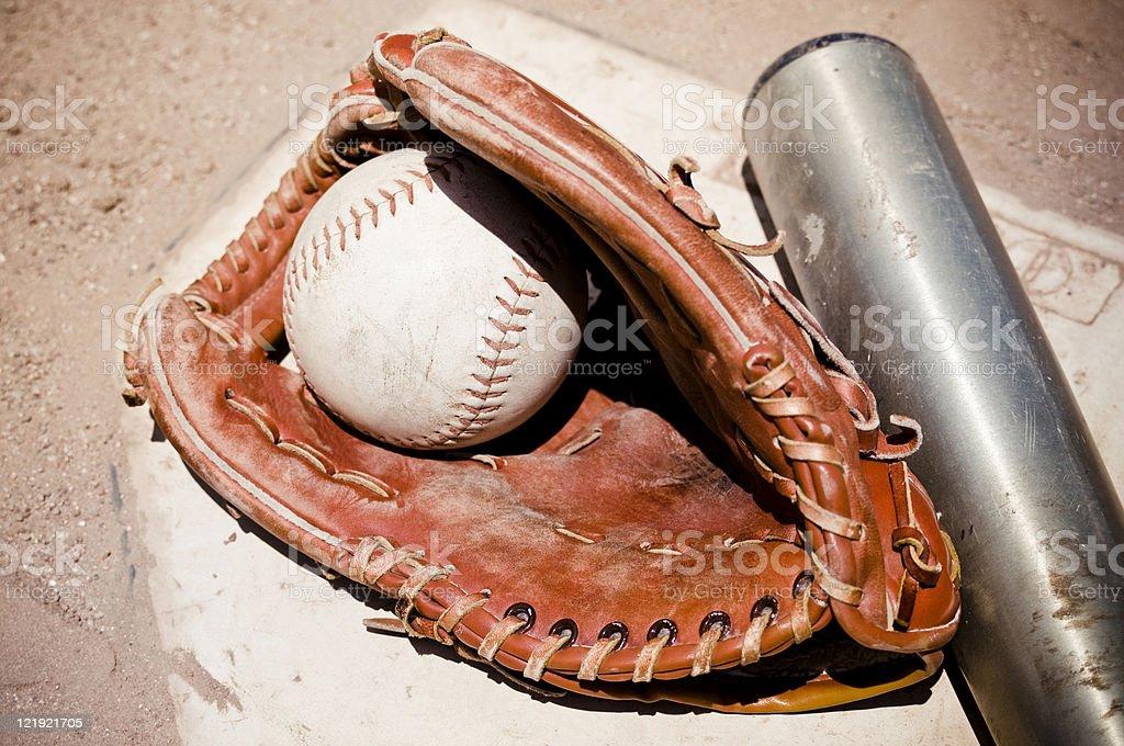Softball Glove and Bat stock photo