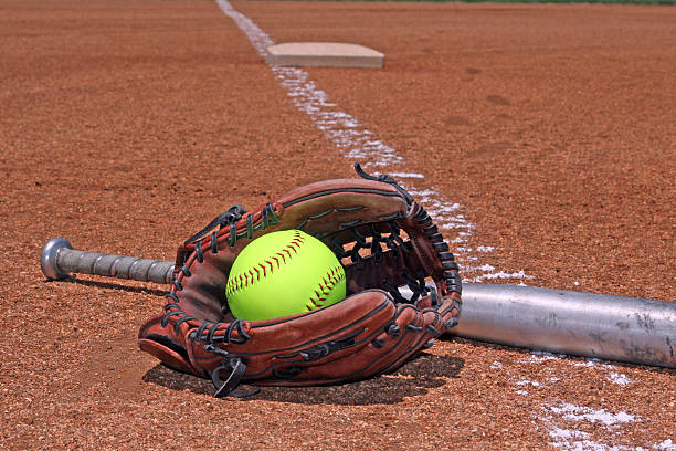softball glove and bat - softball stock photos and pictures