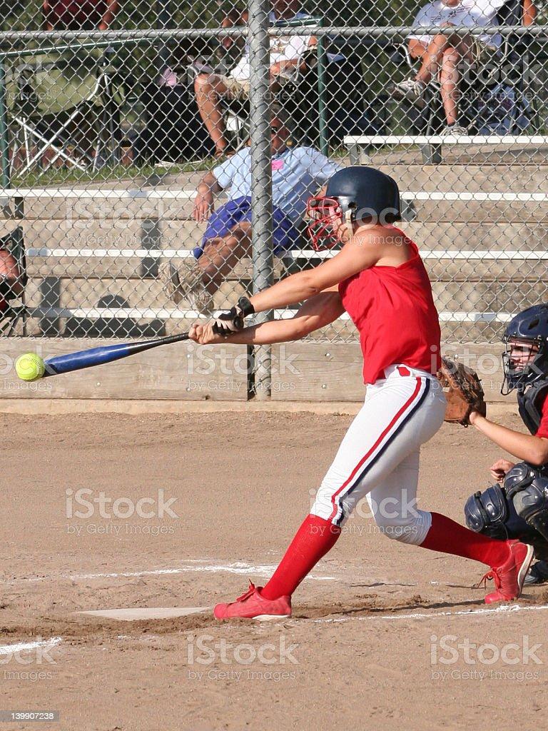 Softball Hitter Makes Contact! stock photo