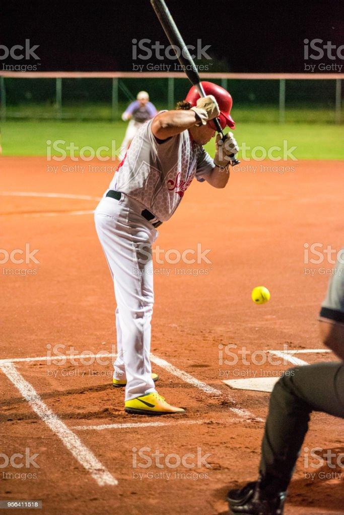 Softball Hitter Waiting for the Ball.