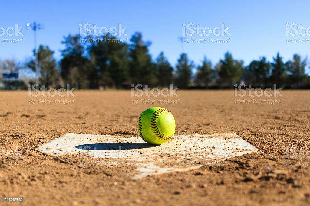Softball in a softball field in California mountains stock photo