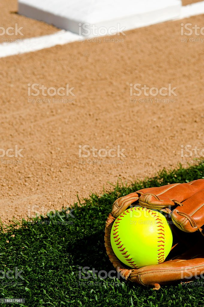 Softball in glove - First base infield stock photo